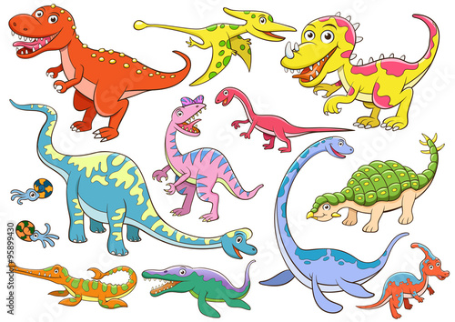 fototapeta na lodówkę illustration of cute dinosaurs cartoon