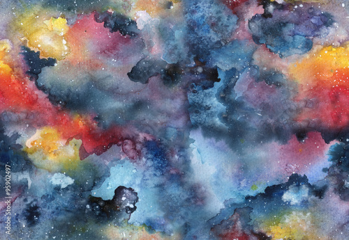 Watercolor galaxy seamless pattern