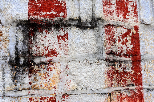 Poster Kyoto Red and black strokes on a white brick wall