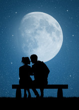 Couple Kissing On Bench In The Moonlight