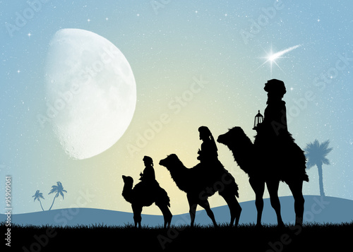 three wise men on camels Wallpaper Mural