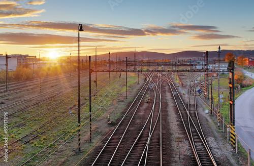 Poster Voies ferrées Cargo Train platform at sunset. Railroad