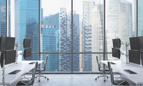 Singapore panoramic view 3d rendering by denisismagilov a modern traders workplaces in a bright modern open space office white tables equipped with