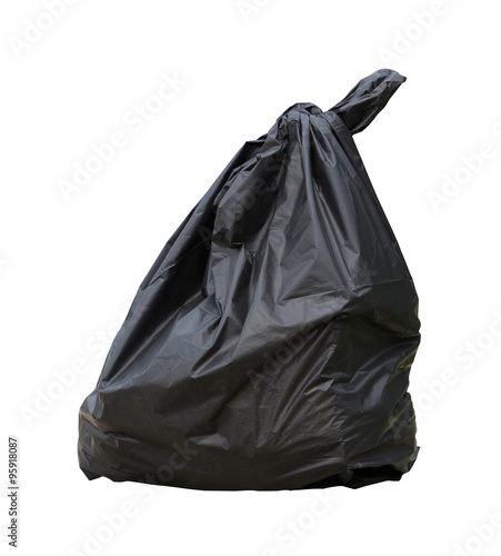 Fototapety, obrazy: black garbage bag isolated on white background with clipping path