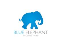 Blue Elephant Vector Logo On White