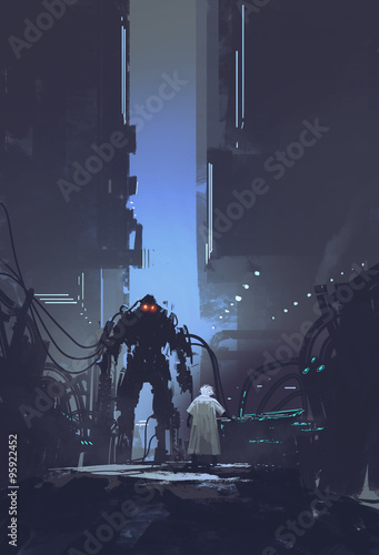 scientist build robot in old factory background,illustration painting