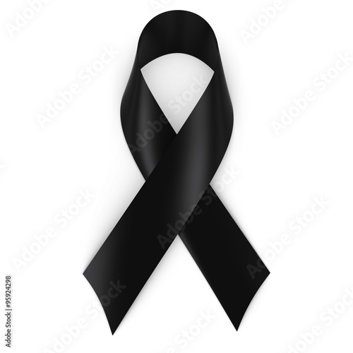 Fotografie, Obraz  Black Mourning Ribbon isolated on white with shadows