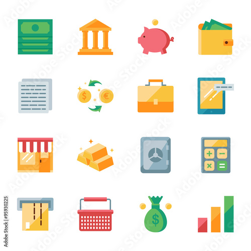 Finance and marketing vector icons set flat style Wall mural