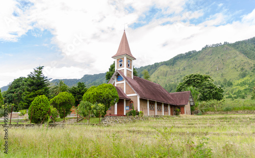 Foto op Plexiglas Indonesië Church in Samosir island on Lake Toba in Sumatra, Indonesia