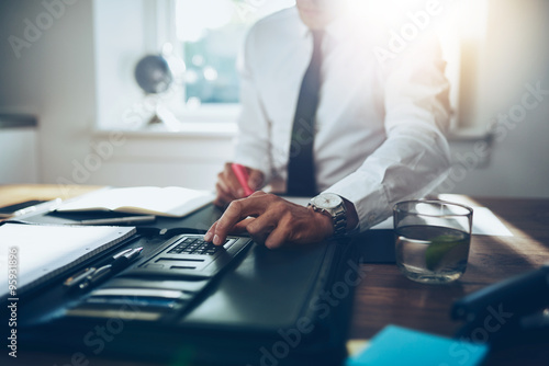 close up, business man or lawyer accountant working on accounts Wallpaper Mural