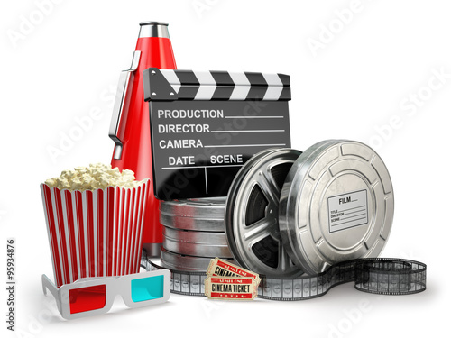 Photo  Video, movie, cinema vintage production concept. Film reels, cla