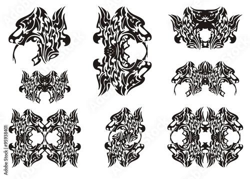 Dragon head symbols. Tribal dragon head frames and double dragon ...