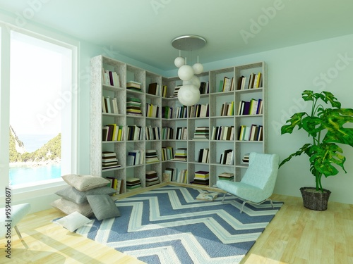 Light Cozy Blue Room For Reading With Armchair Bookshelves Carpet And Plant Buy This Stock Illustration And Explore Similar Illustrations At Adobe Stock Adobe Stock