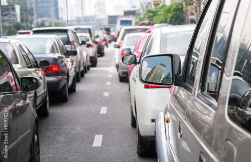 Car queue in the bad traffic road - Buy this stock photo and