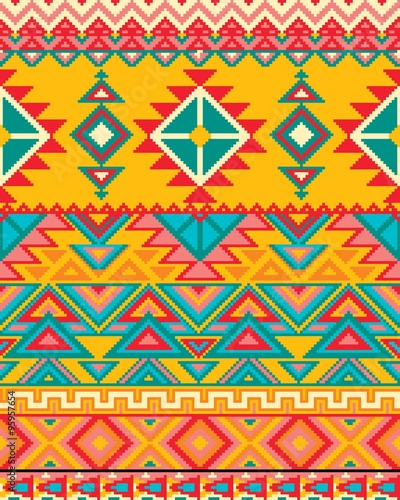 Fotobehang ZigZag Bright seamless background with pixel pattern in aztec geometric tribal style. Vector illustration. Pantone colors.