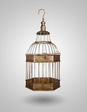 Vintage Bird Cage On Gray Background