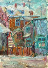 Fototapeta Zima Beautiful bright colors winter Original Oil Painting ofman walking on the street On Canvas