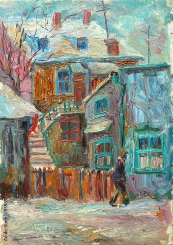 Beautiful bright colors  winter Original Oil Painting ofman walking on the street On Canvas - 95965807