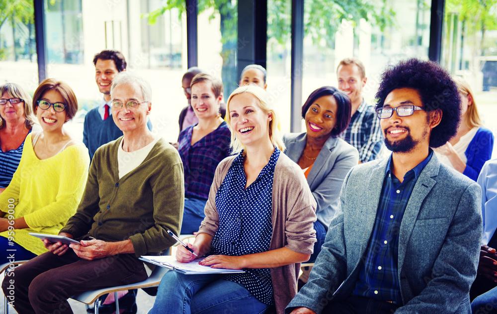 Fototapeta Multiethnic Group Seminar Training Boardroom Concept