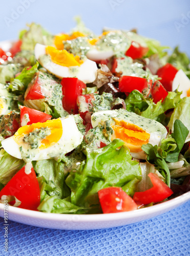 Fototapety, obrazy: Summer salad with tomatos and boiled eggs