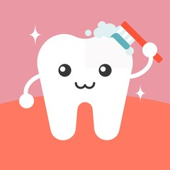 Panel Szklany Podświetlane Do dentysty Vector tooth cleaning itself cartoon, flat design