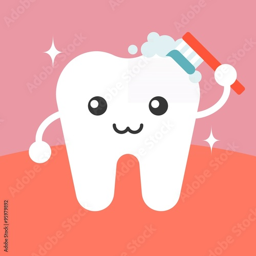 Vector tooth cleaning itself cartoon, flat design - 95979892