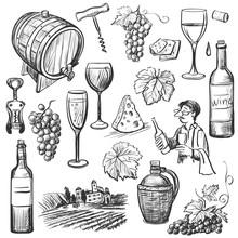 Hand Drawn Sketch Vector Wine ...