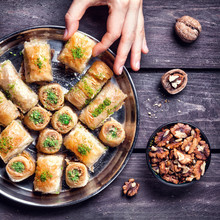 Turkish Delights Baklava On Wo...