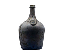 Vintage Bottle With A Wax Seal On A White Background