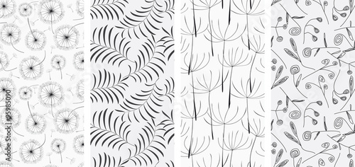 Photo sur Toile Artificiel Set of seamless patterns backgrounds. Vector illustration.