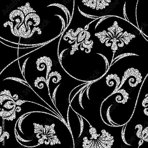 Tapety Glamour kwiecista-srebrna-tapeta