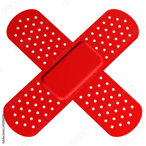 Photo Two Crossed Red Bandages