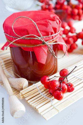 Fotografie, Obraz  homemade rowanberry sauce in glass jar