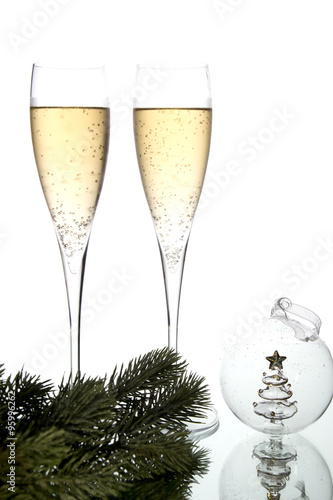 Two glasses and christmas decoration