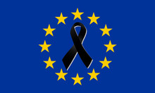 Europe Flag With Black Ribbon Vector