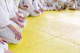 People in kimono sitting on tatami on martial arts seminar