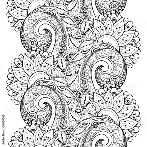 Fotobehang Fractal waves Vector Seamless Monochrome Floral Pattern