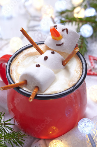 Printed kitchen splashbacks Chocolate Hot chocolate with melted snowman