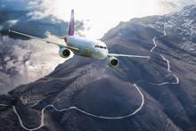 Airplane Above Santorini Island In Greece