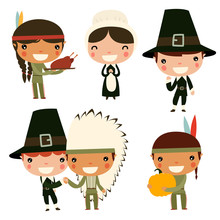 Thanksgiving Kids. Cute Native Americans And Colonists.