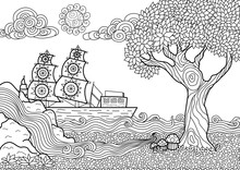 Hand Drawn Seascape Zentangle Style For Coloring Book