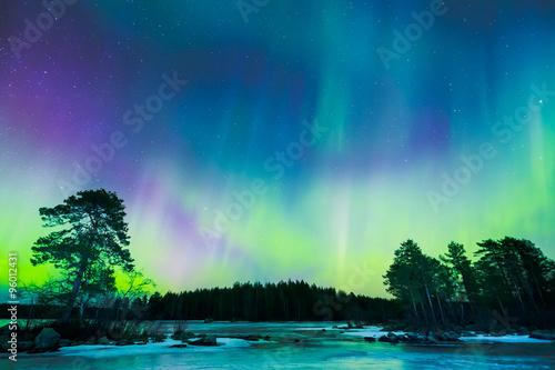 Keuken foto achterwand Noorderlicht Northern lights (Aurora borealis) in the sky