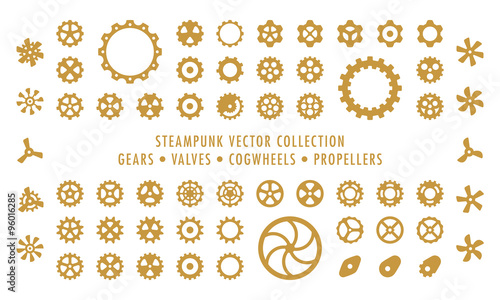 Steampunk Collection (isolated on white) - Gears, Valves & Propellers Wallpaper Mural