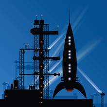 A Retro Cartoon Rocket Silhoue...