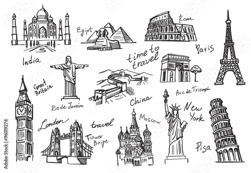 travel icon sketch Wallpaper Mural