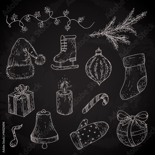 Christmas Sketches.Christmas Sketches Set Vector Doodles Of Light Socks Gift