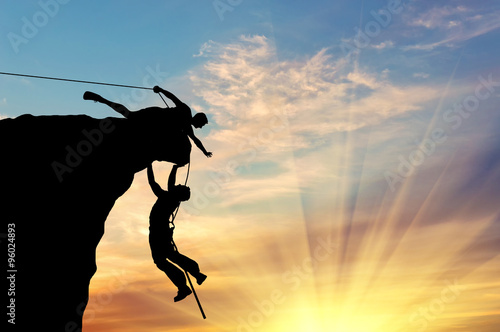 Poster Silhouette of two climbers
