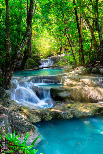 obraz dibond Beautiful waterfall in Thailand tropical forest