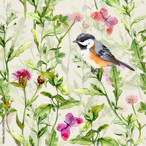 maly-ptak-w-wiosny-lakowej-trawie-i-kwiatach-z-motylami-powtarzajacy-sie-wzor