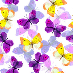 Fototapeta Romantyczny Seamless trendy backdrop with colourful watercolour painted butterflies